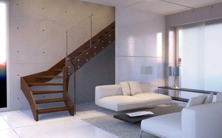 Cầu thang gỗ kính cường lực