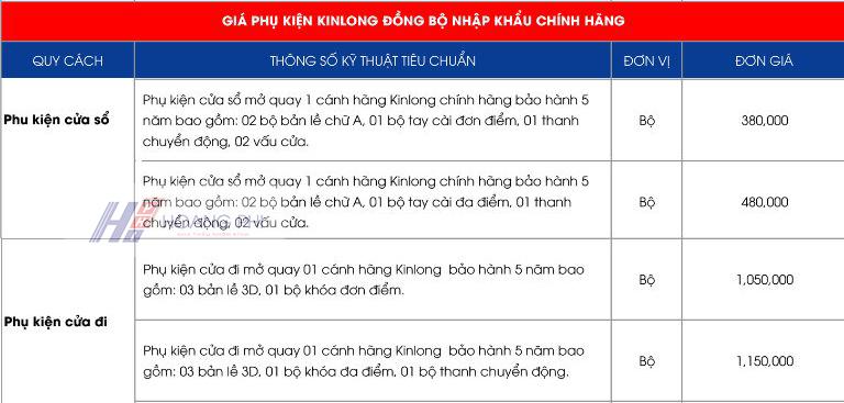 phu kien cua nhom 1 canh xingfa - Báo giá cửa nhôm 1 cánh của Xingfa và châu Âu (cửa sổ, cửa đi)
