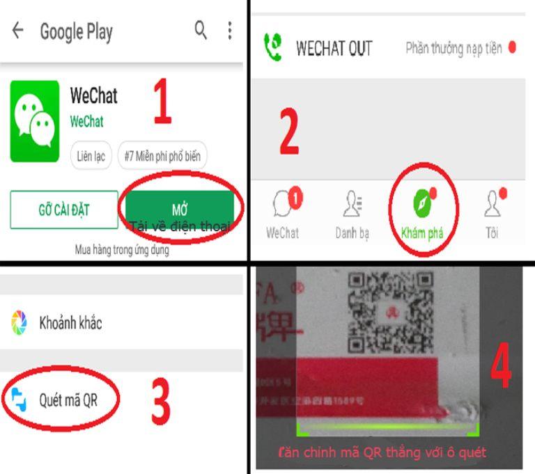 Sử dụng Wechat để quét mã QR