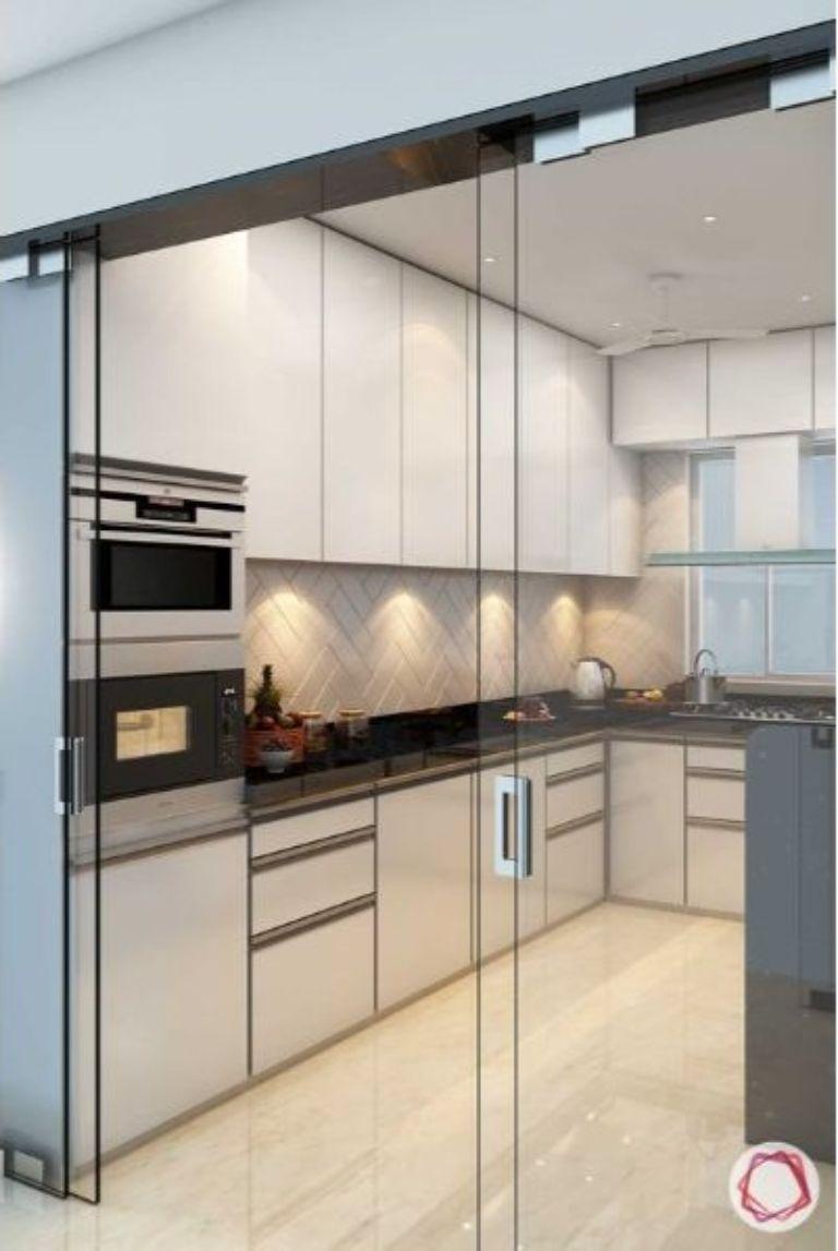 Cửa kính cường lực không khung cho nhà bếp